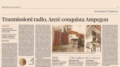 Il Sole 24 Ore sheds light on the importance of Aretè & Cocchi Technology's acquisition